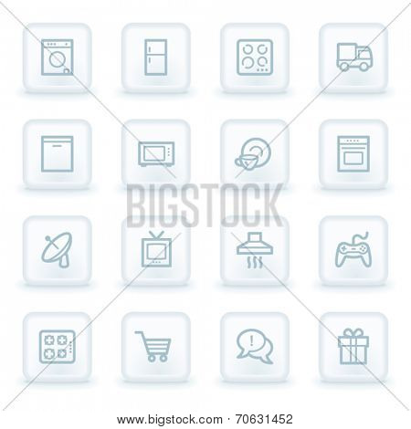 Home appliances web icons,  white square buttons