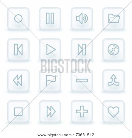 Media player web icons,  white square buttons