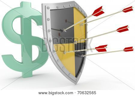 Security shield protects money American dollar currency financial security