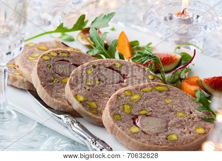 Duck terrine with pistachios for Christmas dinner