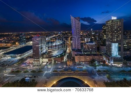 Wide view Of Warsaw Downtown During The Night