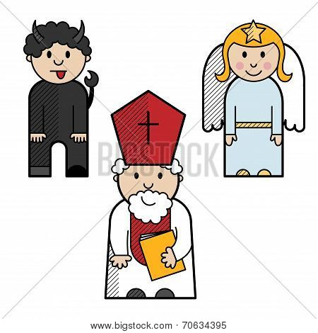 Saint Nicholas, angel and devil colored in a simple style