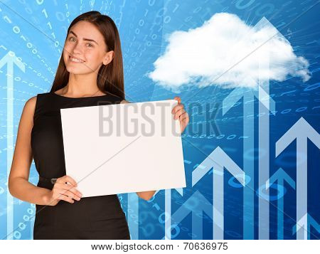 Businesswoman with cloud, figures and arrows