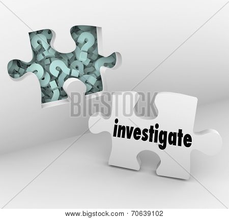 Investigate word on a puzzle piece and wall with hole and question marks behind it to symbolize a need for finding answers
