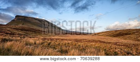 Panorama Landscape Pen-y-ghent In Yorkshire Dales National Park