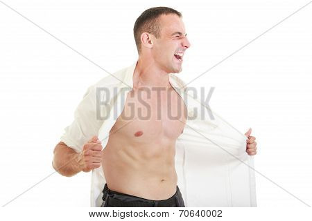 Man Ripping Open His Shirt Showing Chest And Naked Torso