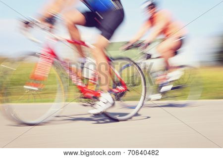 Bicycle race. Motion blur