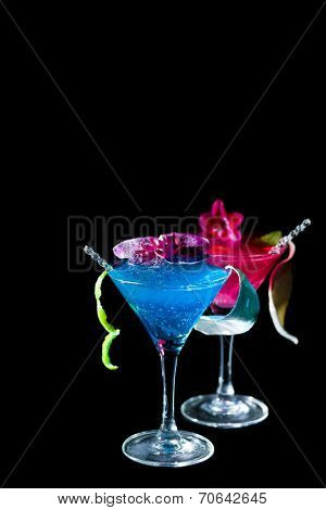 Blue Curacao cocktail over black background - Molecular Mixology