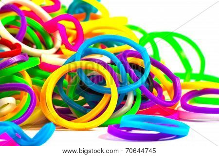 Close Up Of Colorful Elastic Loom Bands Color Full