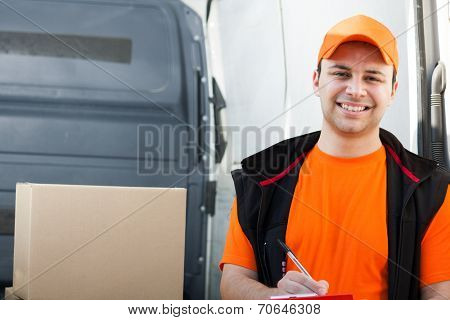 Portrait of a smiling deliverer