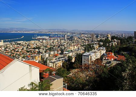 Mediterranean seaport of Haifa Israel with Shrine of Bab