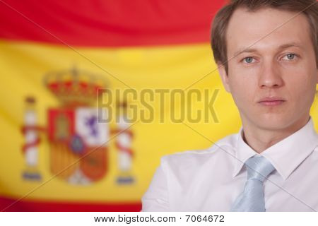 Politician Over Spanish Flag