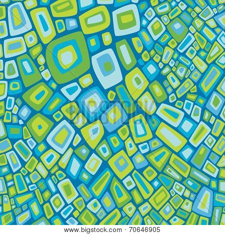 Abstract Blue & Green Pattern on TurquoiseBackground