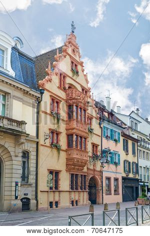 House of heads in Colmar.  France. Europe