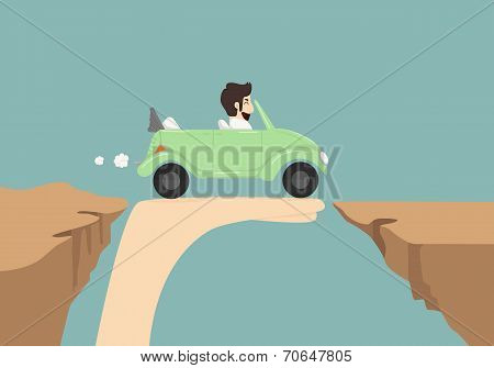 Businessman Driving Car On Hand