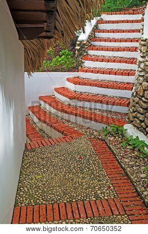 Staircase To House Under The Thatch Roof