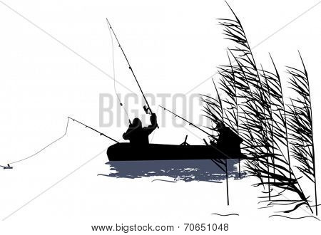illustration with fishermen and boat silhouette in rush isolated on white background