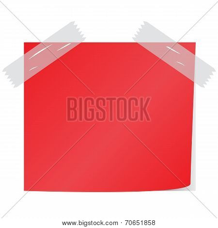 Blank Red Paper Note Vector