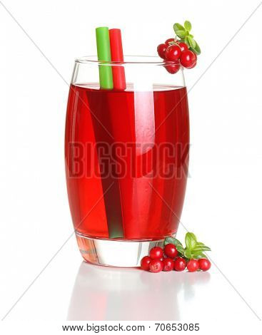 Berry juice and cowberry with leaves isolated on white