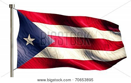 Puerto Rico National Flag Isolated 3D White Background