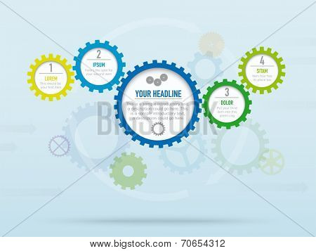 Infographic background vector template with cogs and gears. Business infographic template. Contains transparencies. Global color swatches, elements grouped and layered.