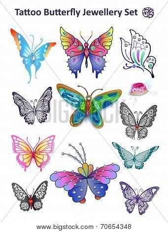 Tattoo Butterfly Jewellery Set Print Cloth