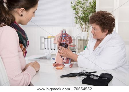Young Woman At Doctor - Explanation Of The Human Body.