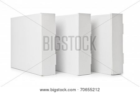 Three White cardboard box on white background