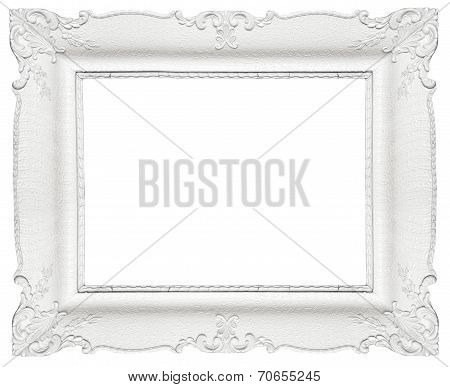 White baroque frame isolated on white background