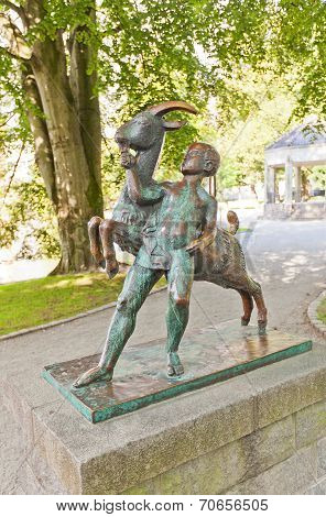 Boy And Goat Sculpture (1925). Stavanger, Norway