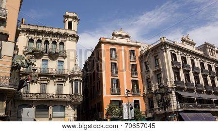 Architectural Masterpieces In A Pedestrian Street In Barcelona Rambla