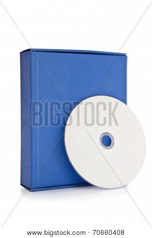 Blue software box with white cd