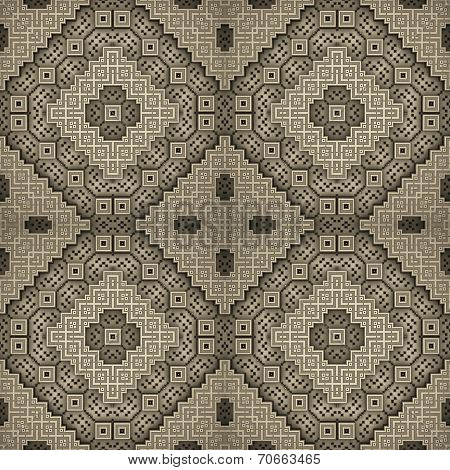 3D Rhomb Seamless Pattern In Ocher