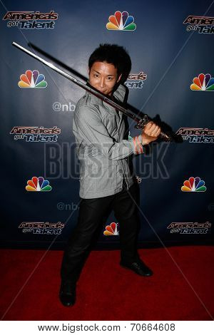 NEW YORK-AUG 13: Kenichi Ebina attends the backstage post-show red carpet for NBC's 'America's Got Talent' Season 9 at Radio City Music Hall on August 13, 2014 in New York City.