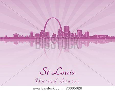 St Louis Skyline In Purple Radiant Orchid