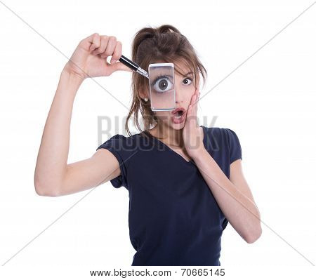 Surprised Isolated Businesswoman Holding Magnifying Glasses.