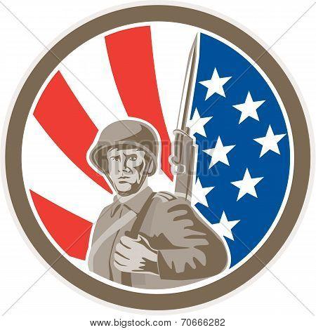 American Soldier Serviceman Bayonet Circle Retro