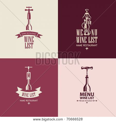 set of four wine menu list