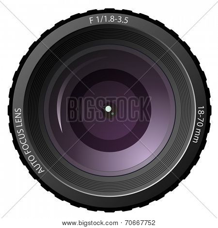 New modern camera lens isolated on white background.