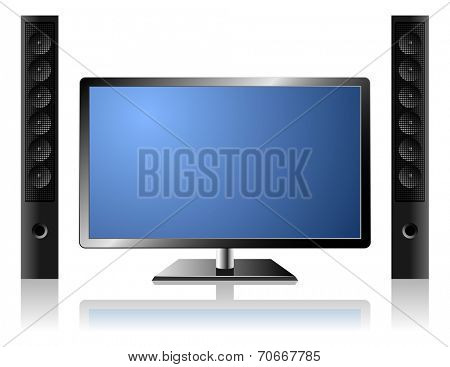 New modern flat TV set with external audio system isolated on white background.
