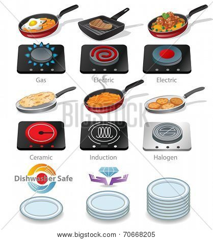 Collection of icons of a frying pan with tasty food and  electric and gas hob with different surfaces