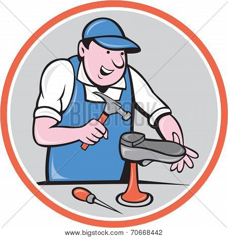 Shoemaker With Hammer Shoe Circle Cartoon