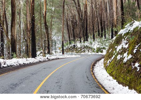 Windy Australian Road in Snow