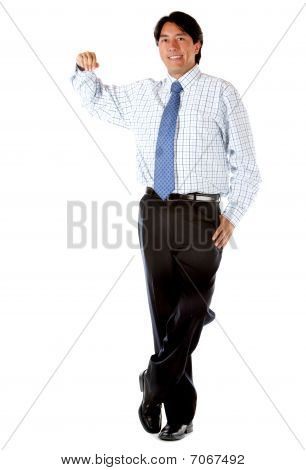 Business Man Leaning On Something