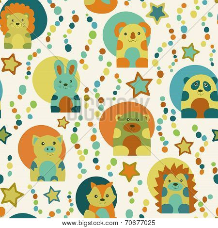 Seamless Pattern With Cartoon  Animals