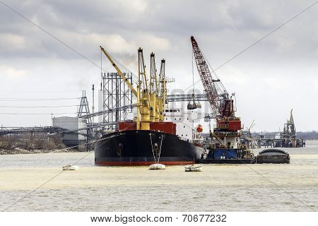 Cargo Ship Loading In The Port.