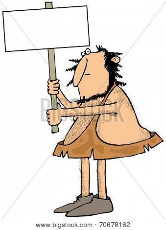 Caveman holding a sign