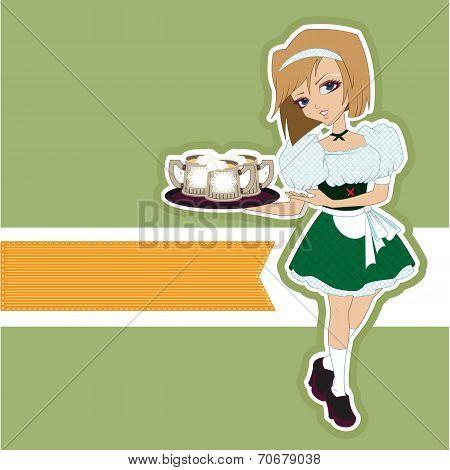 German girl waitress carries beer at Oktoberfest