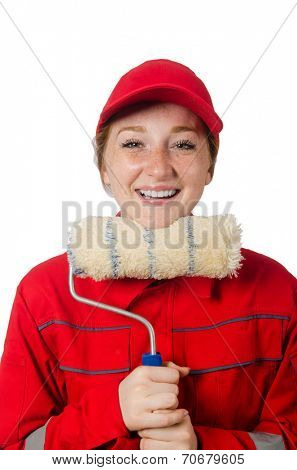 Woman painter in red coveralls isolated on the white