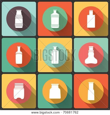 Bottles icon set in Flat Design for Web and Mobile, vectors collection.
